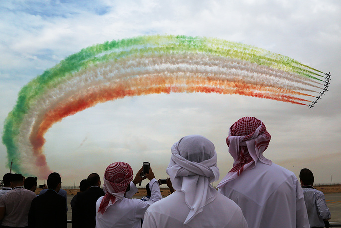The Frecce Tricolori aerobatic display team of the Italian Aeronautica Militare performing at the 2015 Dubai Airshow, November 12, 2015
