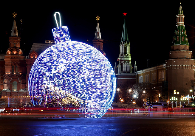 A giant, 17-meter-high bauble made of LED Christmas lights installed in Moscow's Manege Square. The bauble is expected to enter the Guinness Book of Records