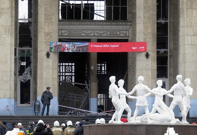 At the site of a terrorist act at the railway station in the Russian Volga River city of Volgograd