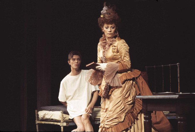 """David Bowie seen rehearsing a scene in the Broadway show """"The Elephant Man"""" with co-star Patricia Elliott, 1980"""