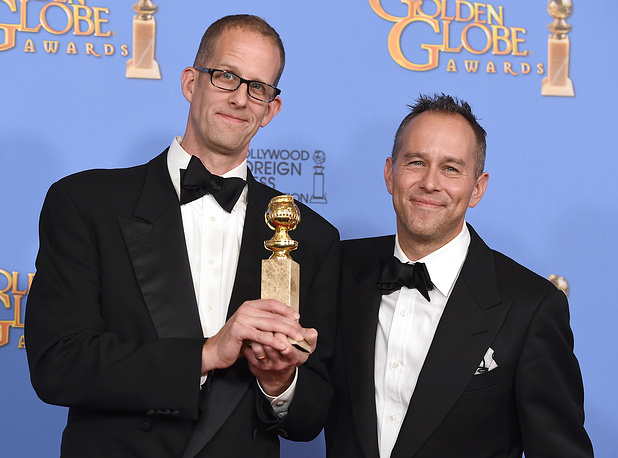 "Pete Docter and Jonas Rivera with the award for best motion picture - animated for ""Inside Out"""