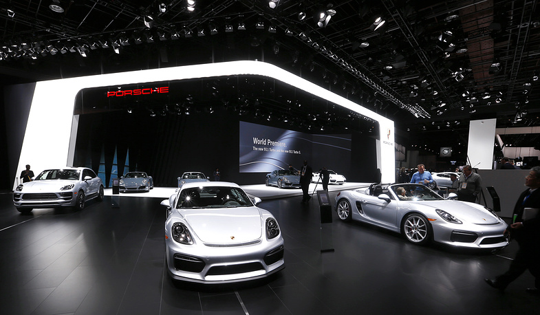 Porsche display at 2016 North American International Auto Show in Detroit