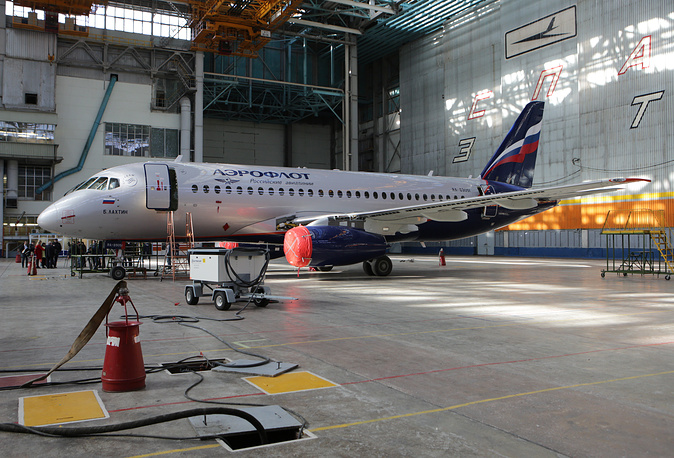Sukhoi Superjet 100 (SSJ100) of the Aeroflot Airlines being painted at the Aviastar-SP aircraft building plant of the United Aircraft Corporation