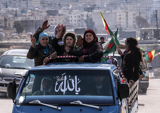 Kurdish women in the town of Afrin