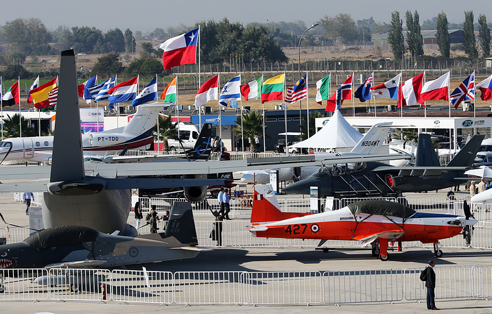 Aircraft on display at the FIDAE-2016 aerospace exhibition, at Comodoro Arturo Merino Benitez International Airport, Santiago, Chile