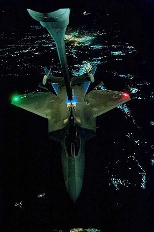 F-22 Raptor during in-flight refueling