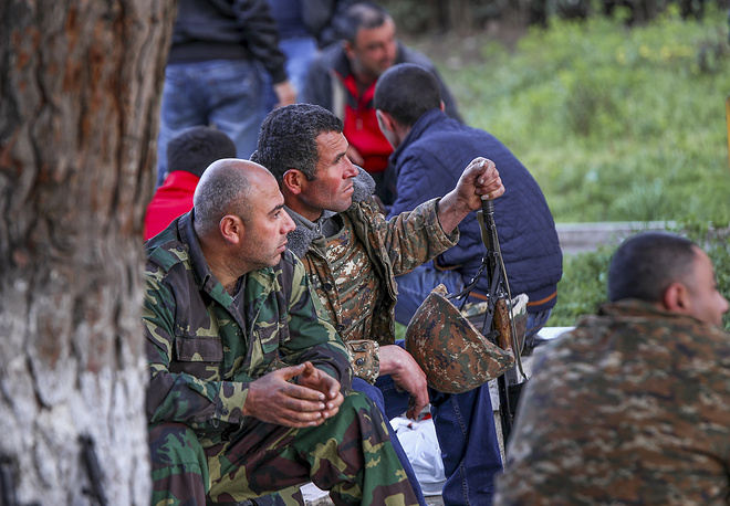 Armenian volunteers are in a state of readiness in the town of Askeran in Nagorno-Karabakh