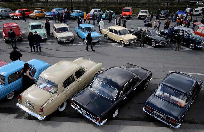 Vintage cars exhibition on Vasilevsky Island in Saint Petersburg
