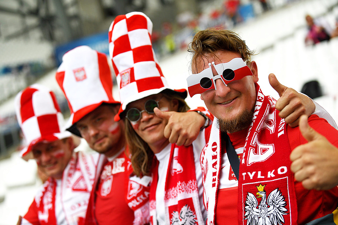Polish fans at the Euro 2016 group C preliminary round match between Ukraine and Poland, 21 June 2016