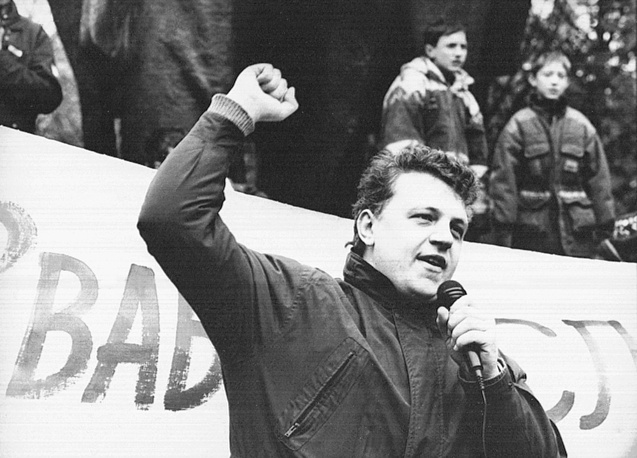 Pavel Sheremet at a rally in Belarus in 1997