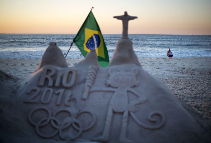 A sand sculpture along the promenade on Copacabana beach in Rio de Janeiro
