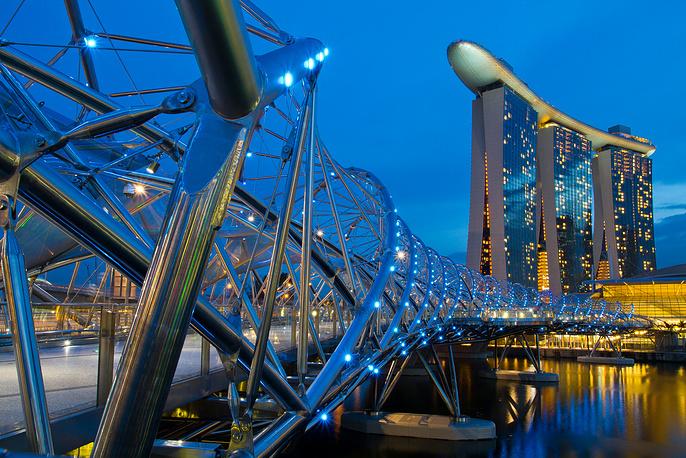 Helix Bridge, a pedestrian bridge in the Marina Bay area, Singapore