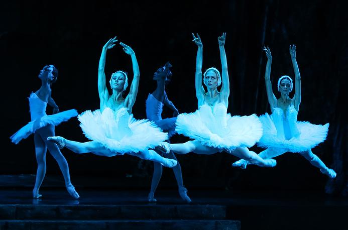 Actors perform in the Kremlin Ballet Theatre's production of Pyotr Tchaikovsky's Swan Lake, September 22