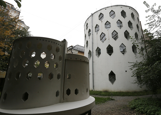 The cylindrical Melnikov House with hexagonal windows in central Moscow was built in the 1920s