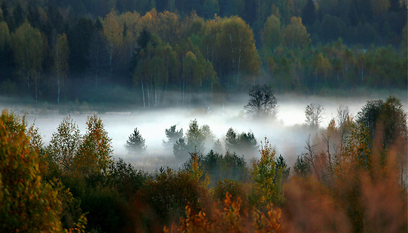 Fog over the Alexander Ostrovsky estate museum in Shchelykovo, Russia, October 2