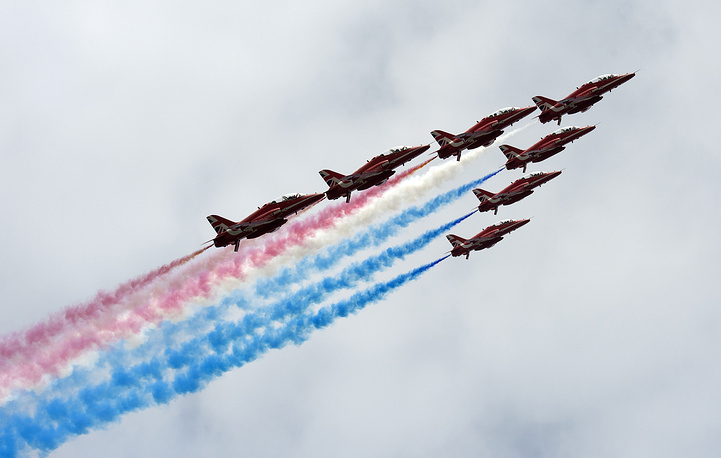 Britain's Royal Air Force (RAF) Red Arrows aerobatic team