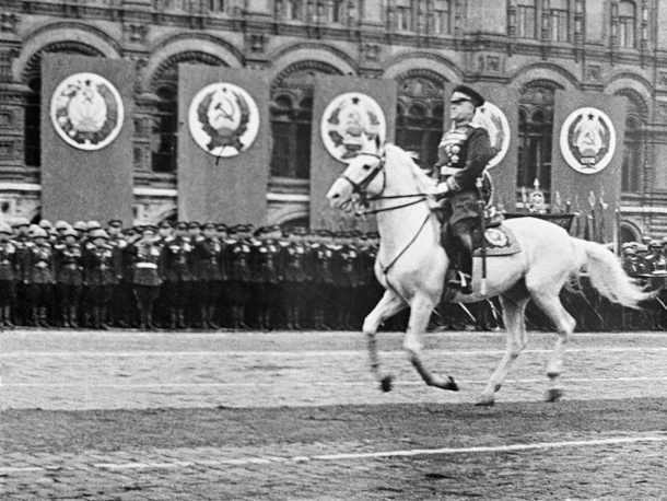 Soviet Marshal Georgy Zhukov riding horse during a Victory Parade in Red Square marking victory over the Nazi Germany in the Great Patriotic War, 1945