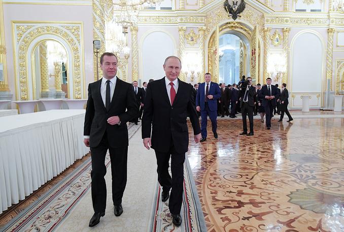 Russia's Prime Minister Dmitry Medvedev and Russia's President Vladimir Putin