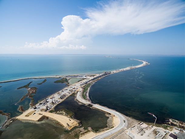A view of the construction site of a bridge across the Strait of Kerch linking Crimea to mainland Russia, August 12