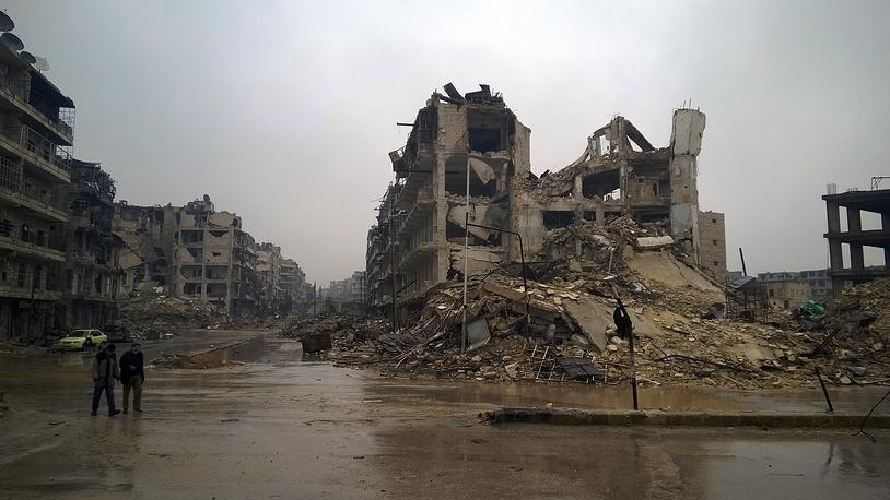 War-torn buldings in the city of Aleppo