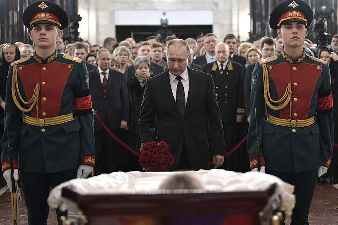 Russia's President Vladimir Putin pays last respects to Russian Ambassador to Turkey Andrei Karlov, Moscow, December 22