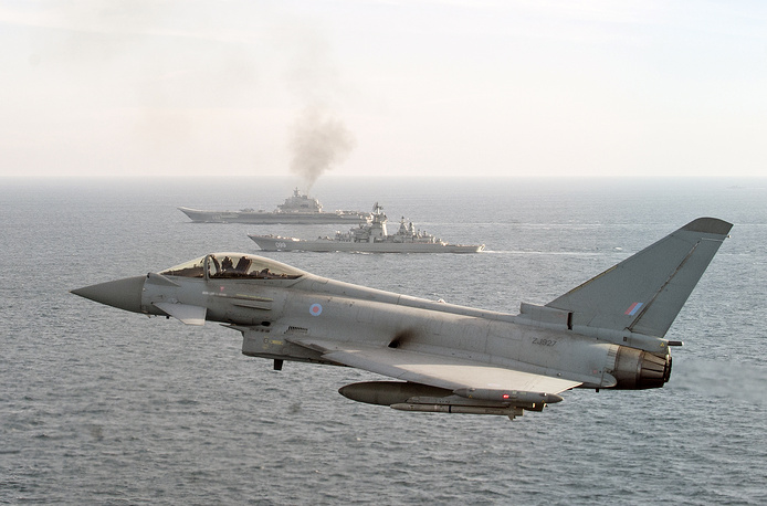 A Royal Air Force Typhoon shadowing Russian Warships Petr Velikiy and the Admiral Kuznetsov in the North Sea, January 24