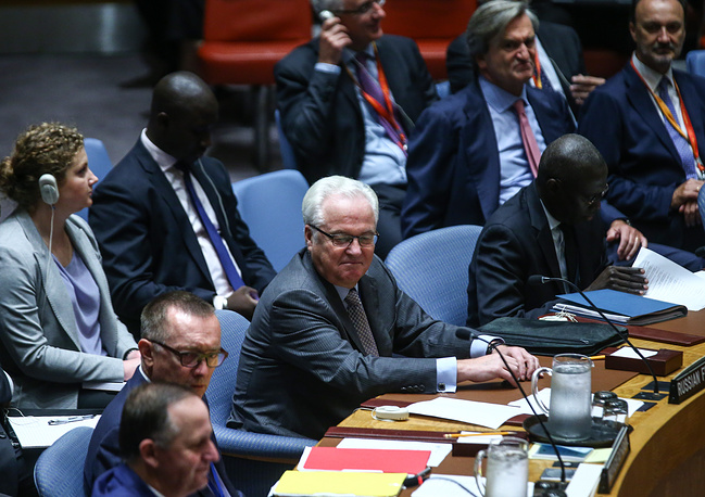 Russia's ambassador Vitaly Churkin seen ahead of a meeting of the UN Security Council on the situation in the Middle East at the Security Council Chamber, at the UN Headqurters in New York, 2016
