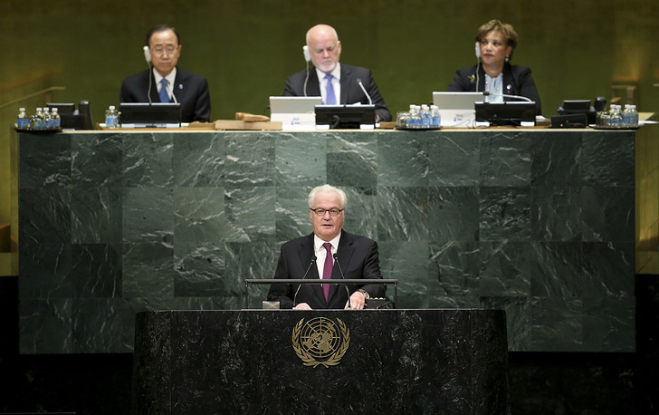Russian enoy Vitaly Churkin makes a statement during the appointment of the Secretary-General designate, Antonio Guterres of Portugal, at United Nations headquarters, 2016