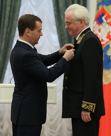 Dmitry Medvedev bestowed state award on Russia's Ambassador to the UN Vitaly Churkin, 2012