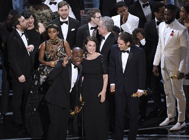 "Barry Jenkins and the cast accept the award for best picture for ""Moonlight"""