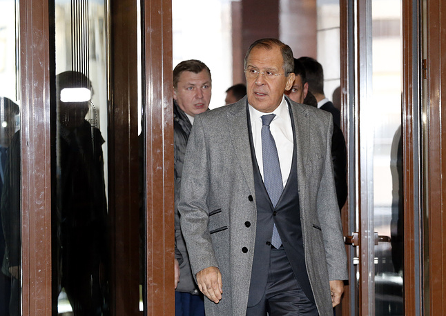 Russian Foreign Minister Sergei Lavrov arrives for talks on the crisis in eastern Ukraine, Minsk, Belarus, 2016