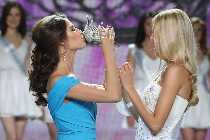 Miss Russia 2016 Yana Dobrovolskaya and Miss Russia 2017 Polina Popova