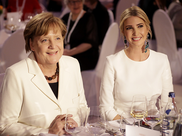 Ivanka Trump, daughter and adviser of US President Donald Trump and  German Chacellor Angela Merkel during a dinner after the summit
