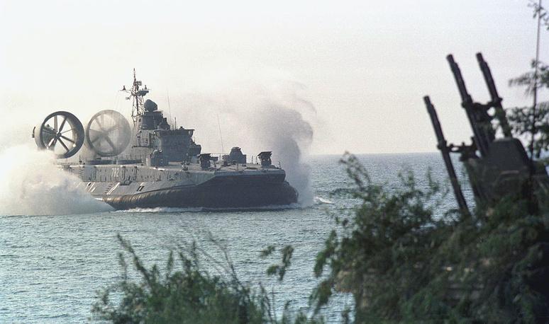 A hovercraft Zubr seen during a landing operation of the Russian Baltic Fleet