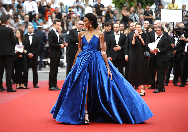 Model Winnie Harlow poses for photographers upon arrival at the screening of the film Loveless at the 70th international film festival, Cannes, France, May 18