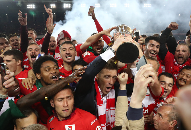 Spartak Moscow's players celebrate winning the 2017 Russian Premier League title at an award ceremony after the 2016/17 Season Russian Premier League Round 29 football match against Terek Grozny at Otkrytie Arena Stadium, Russia, May 17