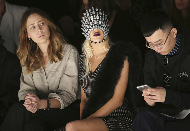 Australian model Imogen Anthony sits in the front row during the St George Nextgen show at the Mercedes-Benz Fashion Week Australia in Sydney, May 16