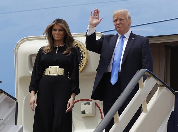 US President Donald Trump and first lady Melania Trump at the Royal Terminal of King Khalid International Airport in Riyadh