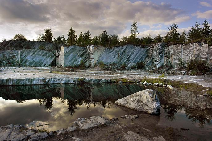 Ruskeala marble mine park in Sortavala, the Republic of Karelia
