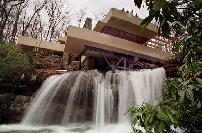 "Temporary steel shoring supporting the first-floor cantilevers at Frank Lloyd Wright's Fallingwater house in Mill Run, built in 1936. The summer weekend home was named ""The best all-time work of American architecture,"" in a poll of members of the American Institute of Architects"