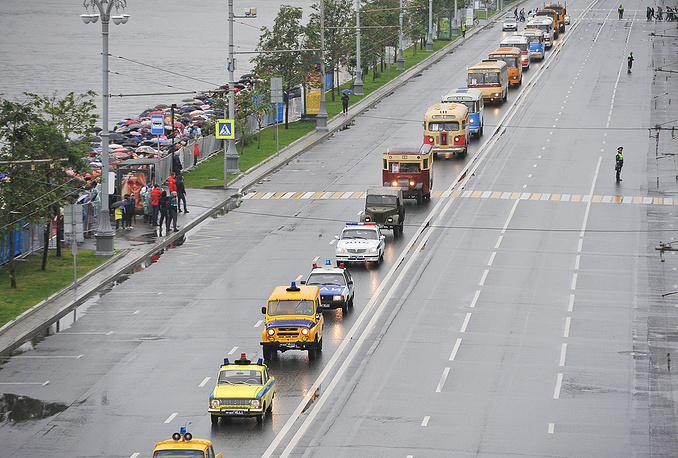 A parade of vintage buses in Moscow