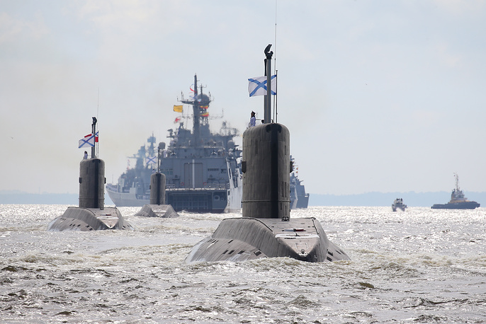 The parade of warships in Saint Petersburg