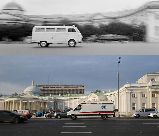 Above: An ambulance vehicle by the Sklifosovsky Reaserch Institute, 1970  Below: An ambulance vehicle by the Sklifosovsky Moscow Institute of Emergency First Aid, 2017
