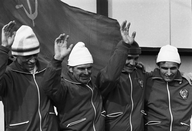 Soviet skiers Yuri Skobov, Vyacheslav Vedenin, Vladimir Voronkov, Fedor Simashev after winning gold medals in Sapporo, Japan, 1972