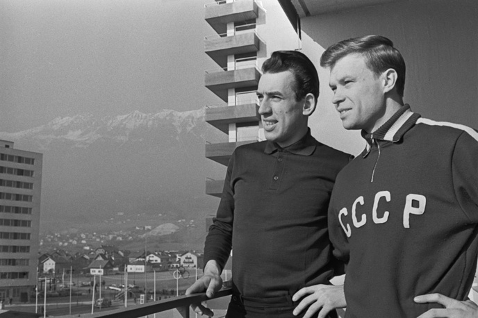 Members of the USSR national team at the 1964 Winter Olympics in Innsbruck, Austria