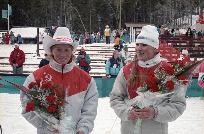 Olympic champions in 5 km women's ski races, Tamara Tikhonova and Vida Vincene in Calgary, Canada, 1988