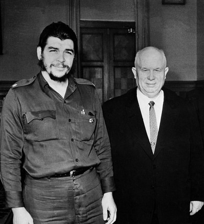 Cuban Economic Minister Ernesto Che Guevara and Soviet Prime Minister Nikita Khrushchev as they met in in Moscow, 1960, to discuss development of Soviet-Cuban trade relations