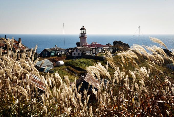 Gamov lighthouse on the Gamov Peninsula, Primorye, Russia, October 16