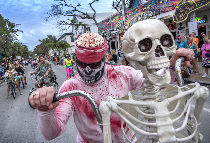 Costumed participants attend the 2017 Fantasy Fest parade, an annual ten-day-long street party in Key West, Florida, USA, October 22