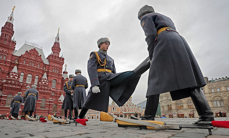 Legendary parade reconstructing the Great Patriotic war military parade on Red Square in Moscow, November 9